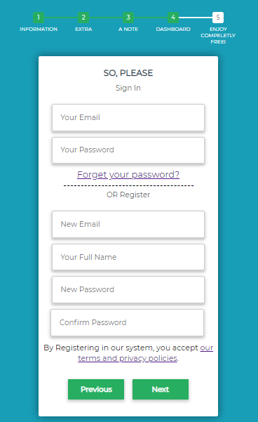 Sign In/Up Form